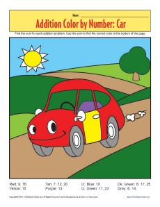 Addition_Color_by_Number Car