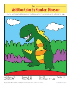 Addition_Color_by_Number_Dinosaur