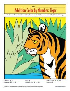 Addition_Color_by_Number_Tiger