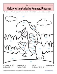 Multiplication_Color_By_Number_Dinosuar