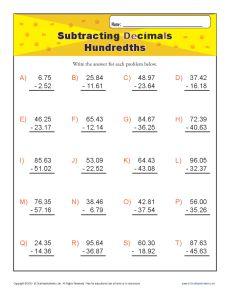 Subtracting Decimals Worksheet