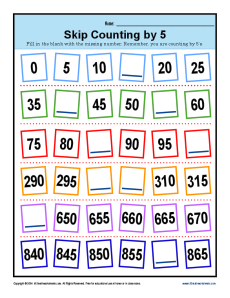 Math Skip Counting by 5 Worksheet