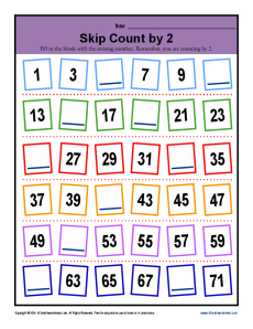 Math Skip Counting by 2 Worksheet