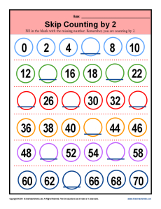 Math Skip Counting by 2 Practice Worksheet