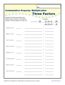 Multiplication - Commutative Property