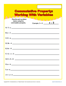 Commutative Property Worksheet Problems