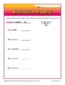 Distributive Property Worksheet Problems