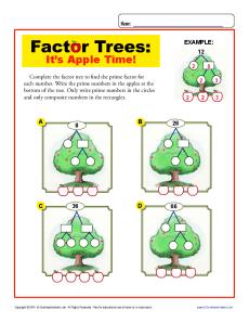 Factor Tree Worksheet Problems