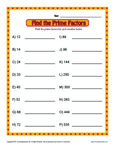 Prime Factor Worksheets