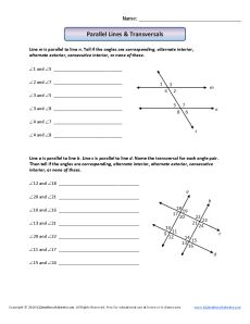 Angle Worksheet - Parallel Lines and Transversals