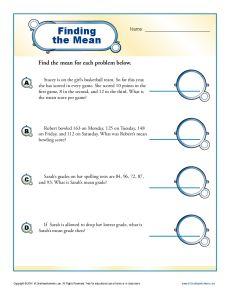 Find the Mean Worksheet